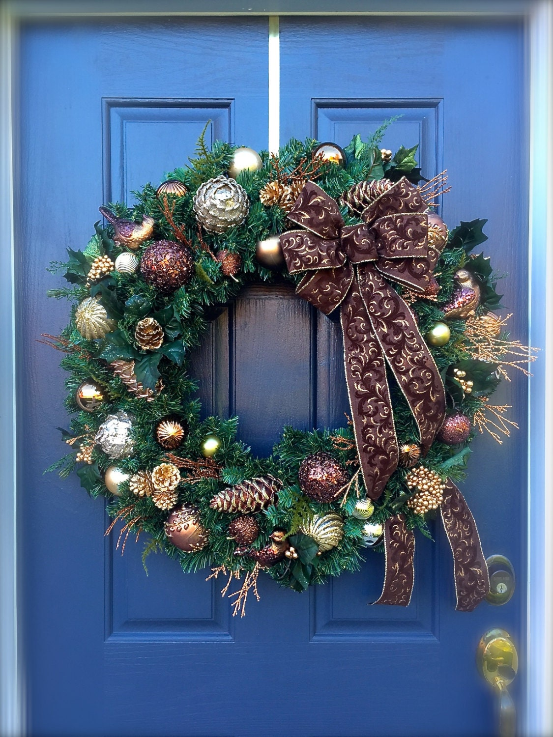 large christmas door wreaths brown holiday decor gold wreaths