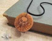 Sun Tribal Pendant Polymer Clay Transfer Fantasy Art  Illustration Jewelry