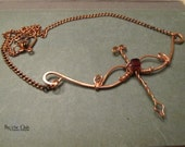 Bow and Arrow Necklace Wire Wrapped Pure Copper Red Stone
