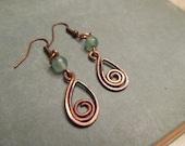 Rustic Teardrop Earrings Dark Copper Spiral Wire Wrapped Green Glass
