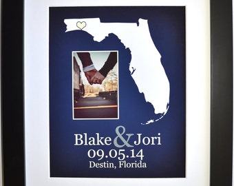 Any state or personalized florida wedding gifts for couple anniversary, custom map engagement gift with picture wedding keepsake florida map