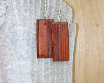 Exotic Cocobolo Rosewood Wood - Beautiful Rich Chestnut Brown Wooden Earrings with Sterling Silver French Ear Wires