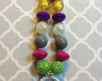 """I Love to See the Temple"""" bottlecap chunky beaded necklace"""