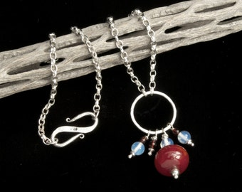 Sterling silver, garnet, moonstone and copal necklace - dangly necklace - silver chain - hammered silver - boho - dark red