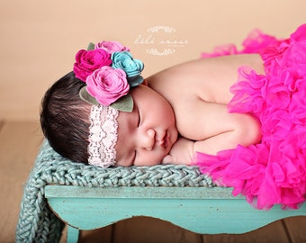 Baby Headband, Four Felt Rose Headband on Lace- pick your colors (baby photo prop)