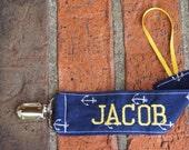 Nautical Paci Clip, Anchor Binky Holder, Nautical Baby Shower Gift