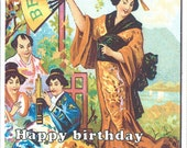 Birthday, happy, big fan, Japanese, Chinese Vintage images, River Spring blank greeting card from ancient advertisement kimono, geisha....