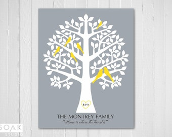 Family Tree Print with birds, Personalised Family Gift, 8x10, Grey and Yellow, Christmas Gift for parents, grandparents gift, Mothers Day