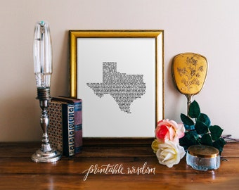 Your State Song Print, custom printable wall art decor, Texas art - digital Printable Wisdom