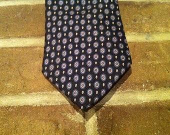Vintage Men's Christian Dior Tie, Navy Blue Foulard Tie - Designer Luxury Tie