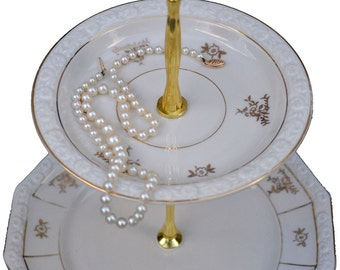 Jewelry Stand 2 Tier Serving Tray Rosenthal China Maria Gold and White Plates Tiered Stand, Tidbit Tray 2 Tier Cake Stand