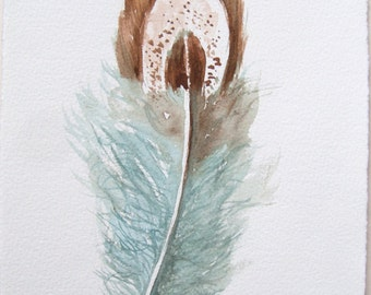 Aqua Brown Feather Watercolor Original Art Painting Feather Illustration Small Watercolors 7,5 by 11 inches Original watercolors only