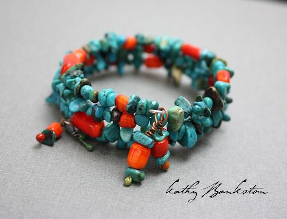 Turquoise Bracelet, Turquoise Beaded Wrap Bracelet, Southwestern Bracelets, Turquoise & Bead Bracelets, Wrapping Turquoise Bracelet