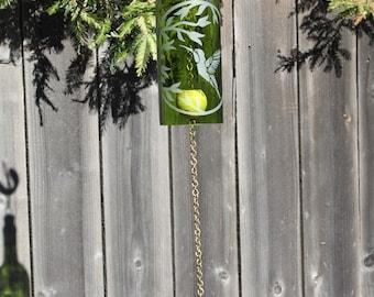 Wine Bottle Windchime - Chime Repurposed Windcatcher Bottle Etching Rememberance Wedding Shower Outdoor Decor