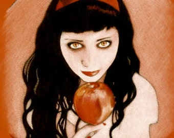 Candy Apple Snow White Inspired Ink and Pastel Illustration Prints