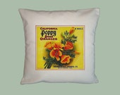 California Poppy Brand Oranges Vintage Label HANDMADE 16x16 Pillow Covers - Choice of Fabrics