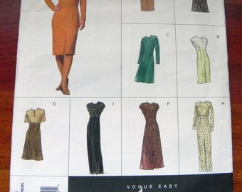 """1990s Semi Fitted knee length dress sewing pattern Vogue 2283 Size 12 14 16 Bust 34 36 38"""" UNCUT FF"""