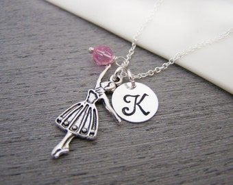 Ballerina Dance Swarovski Birthstone Initial Personalized Sterling Silver Necklace / Gift for Her