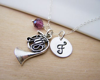 French Horn Charm Swarovski Birthstone Initial Personalized Sterling Silver Necklace / Gift for Her