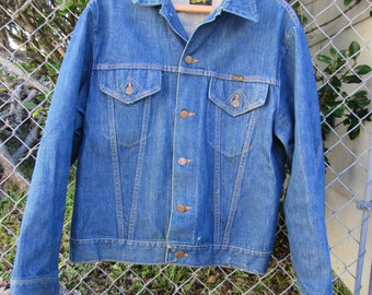 70s Wrangler Denim Jacket, Men L Women L-XL // Vintage Two Pocket Denim Jacket // Blue Jean Jacket