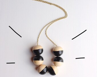 Wooden Bead Painted Necklace // Black + Natural Wood