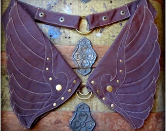 Utility Pocket Belt in Brown or Muted Purple ~ Steampunk Wings Canvas Brass ~ Adjustable Snaps XL Extra Large Burning Man Festival Hip Belt