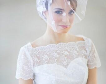 Bridal blusher veil, birdcage wedding veil, birdcage bridal veil, Lace Dance bridal veil, Alencon lace veil, ivory bridal veil, Style 625