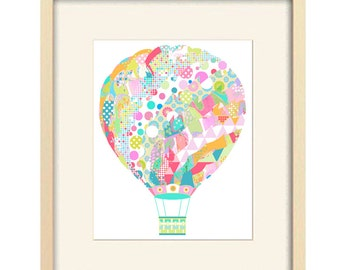 hot air balloon print colorful nursery art balloon nursery decor baby girl nursery art baby wall art kids wall art baby decor pink nursery