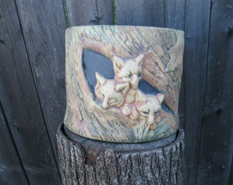 3 Foxes Woodland Weller Urn Art Pottery  Investment Quality