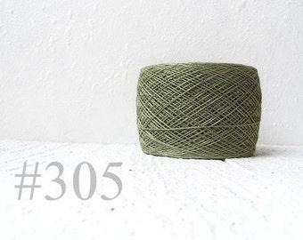 Laceweight Linen yarn - khaki green # 305