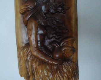 Black walnut wood sculpture - Wall art - Girl with the Bell Dress - Wood sculpture - Home decor - Wall decor, Wall artwork, Wooden sculpture