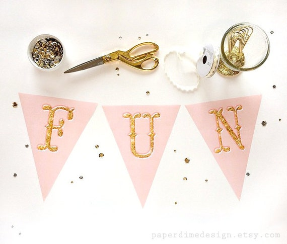 INSTANT DOWNLOAD Printable Pink Gold Banner Pennant Garland Shabby Chic Peach Glitter Vintage Birthday Party Decor Baby Shower | PDF File