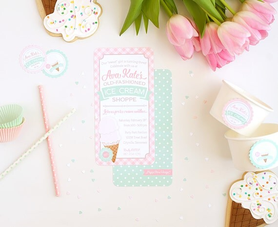 Ice cream invitation | Vintage shoppe shop parlor parlour pink green gingham birthday girl invite sweet personalized custom