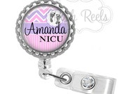 Retractable Badge Reel - Personalized NICU Nurse Badge Holder, Nurse Badge Reel, L&D Nurse - 0954