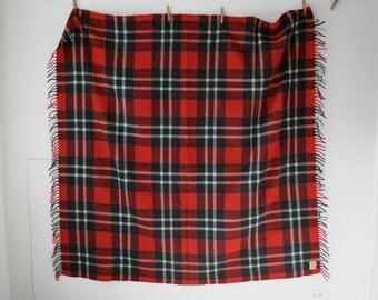SALE Red Green Plaid Wool Blanket