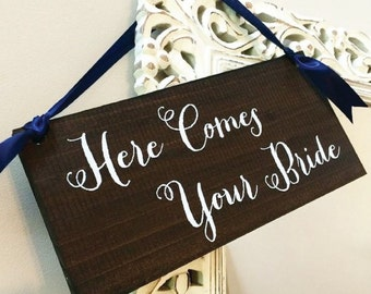 Rustic Here Comes Your Bride Ringbearer Sign - Uncle Here Comes Your Girl - Uncle Here Comes the Bride WS-150