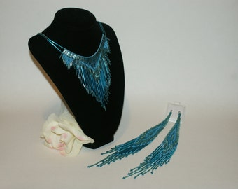 Elegant Low hanging Blue Dangle Choker with Matching Earrings Native American Style - Free Shipping