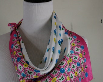 1960s Sweet Pink Floral Acetate Square Scarf, Made in Japan