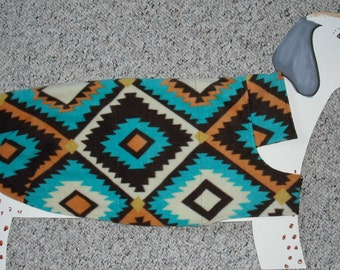 """Reversible Fleece Dog Coat — Native American Southwest Turquoise with cute cotton lining — size XL (32-34"""" girth)"""