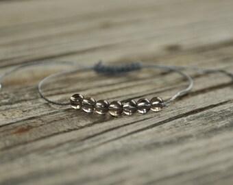 Smoky Quartz Yoga Bracelet, Crystal Healing Bracelet, Meditation Bracelet, Minimalist Jewelry, Grey, Depression, Serenity, Positivity, Fear