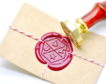 B20 Wax Seal Stamp Hexagon Holiday Christmas Element Xmas Tree Stocking Hat Star