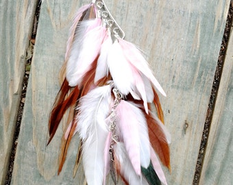 LAST ONE: Pink, White, and Natural Brown Feather Ear Wrap