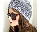 Women's Beanie, Gray Striped Beanie, Winter hat, Chunky Beanie hat, Teen Beanie, Cloche Hat, Gray beanie,  Women, Teens,  Winter Accessories