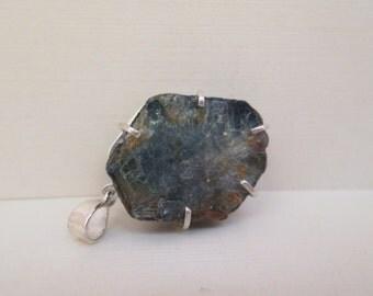 Artisan Handmade Raw Sapphire Silver Pendant