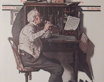 THE FLUTIST'S MARCH Norman Rockwell Reproduction Print Christmas Housewarming Gift 1925 The Saturday Evening Post Bookplate Ready To Frame