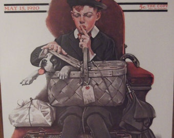 THE STOWAWAY Print By Norman Rockwell For The Saturday Evening Post Bookplate 1920 Ready To Frame