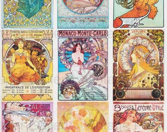 DOWNLOAD MUCHA POSTERS - Art Nouveau - 9 Printable Images - Scrapbooking - Collage - Gift Tags - Cards - Magnets
