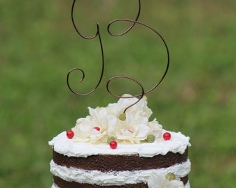 Brown Wire Monogram Wedding Cake Toppers - Beach wedding - Bridal Shower - Bride and Groom - Rustic Country Chic Wedding