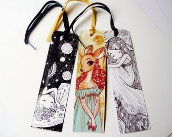 Planet girls and Dames - three illustrated paper bookmarks, print