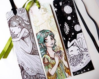Planet Girls and Dames - three illustrated paper bookmarks